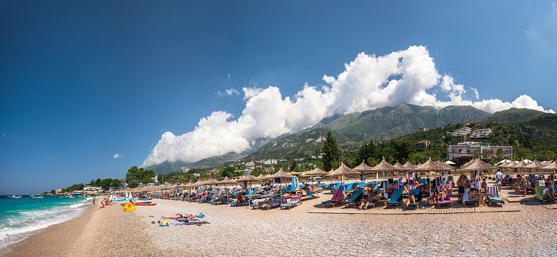 Dhermi Albania - 07.08.2018. Panoramic view of the coast and beautiful beach in the resort of Dhermi in Albania on a sunny summer day photo