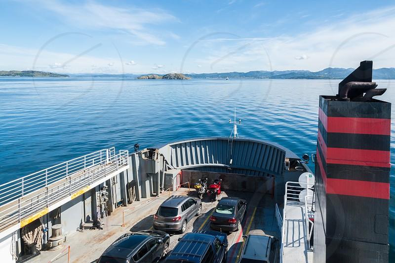 Ferry crossing. Stavanger region. Norway. Europe. Rogaland Ryfylke scenic route. photo