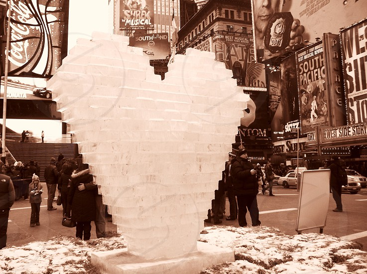 Heart frozen ice sculpture Times Square love photo