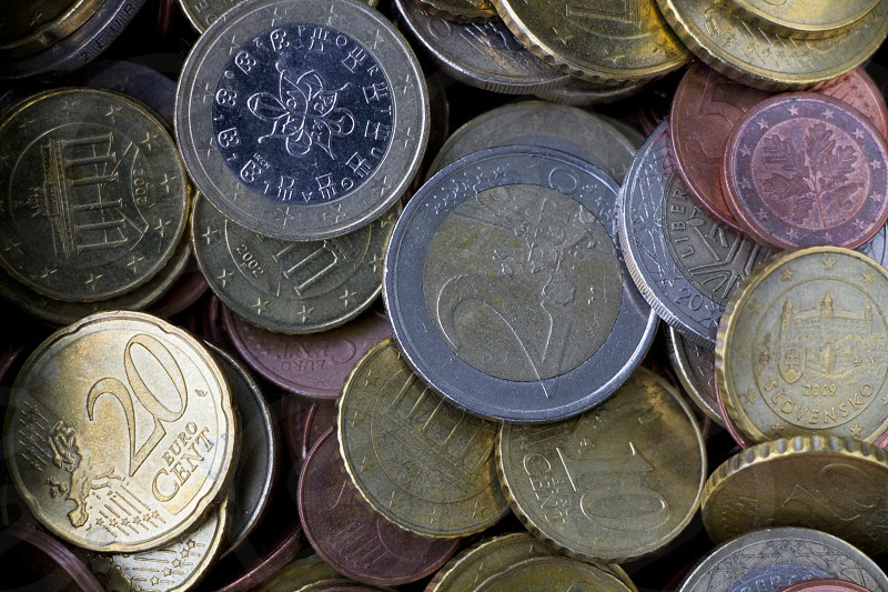 Euro coins symbolizing savings and earnings photo