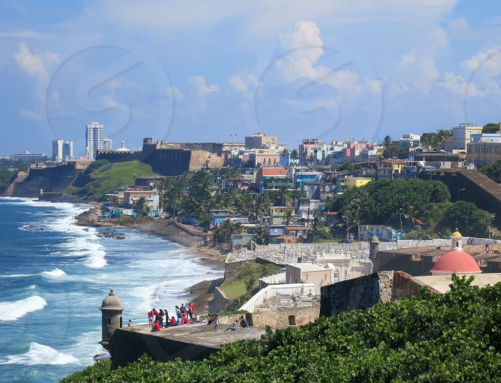 View from El Morro Fort Old San Juan Puerto Rico.  Maria Magdalena Cemetery in foreground. photo