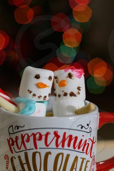 marshmallow snowman couple photo