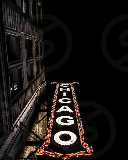 Chicago theater night city sign photo