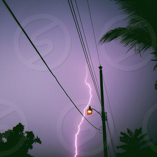 black electric pose with white lighting bolt photo