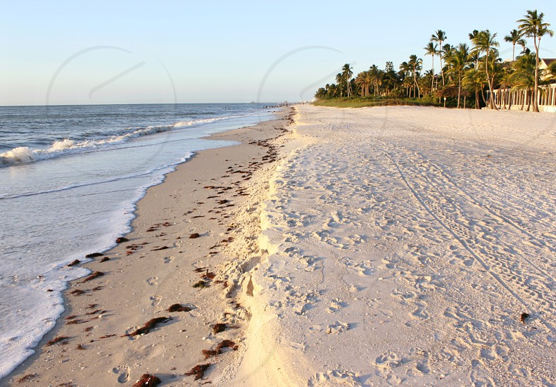 Beach just before sunset in Naples Florida photo