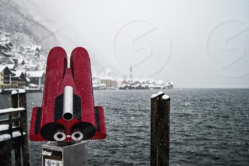 Red binoculars. photo