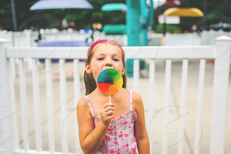 happy girl laughing in vibrant colors photo