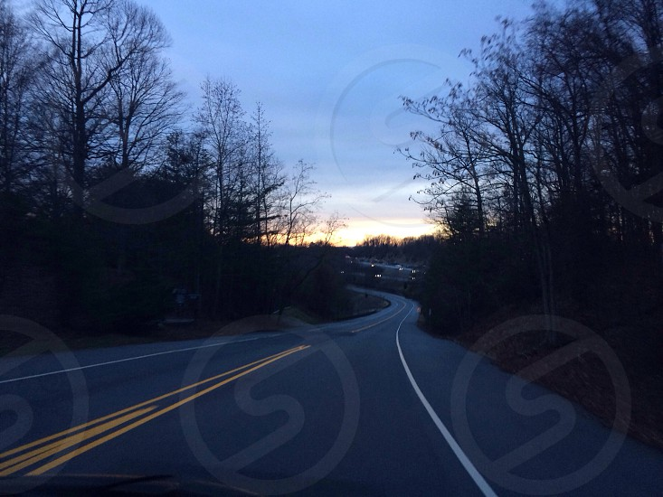 Road leading into the sunset  photo