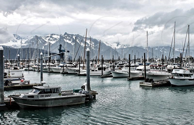 Snow-capped mountains surround fishing boats in Seward Harbor Alaska photo