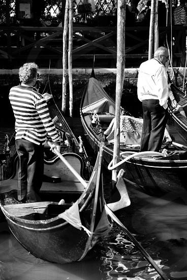 men's black and white striped sweater photo