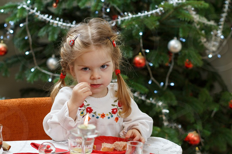 dinner table girl fancy dress holiday eat candle drink food photo