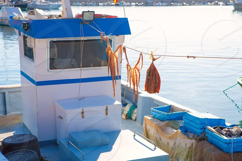 Javea in alicante fisherboats in Mediterranean sea of Spain photo