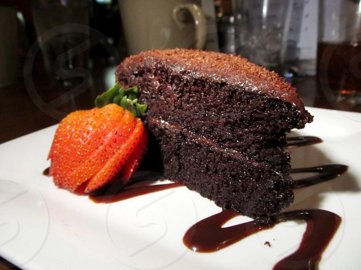 Chocolate chiffon cake with strawberry photo
