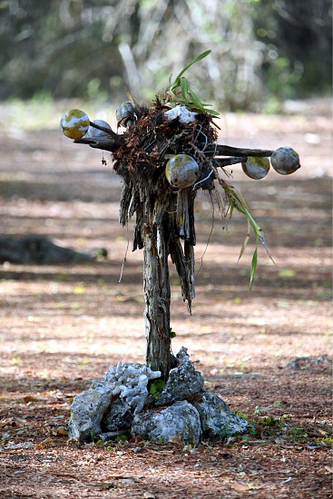 a voodoo pole at the Jaco Island at the town of Tutuala in the east of East Timor in southeastasia.