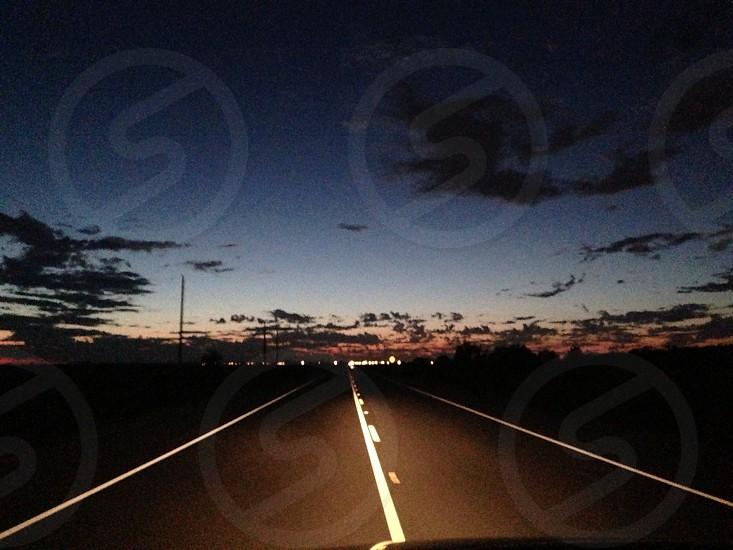 Driving night drive road photo