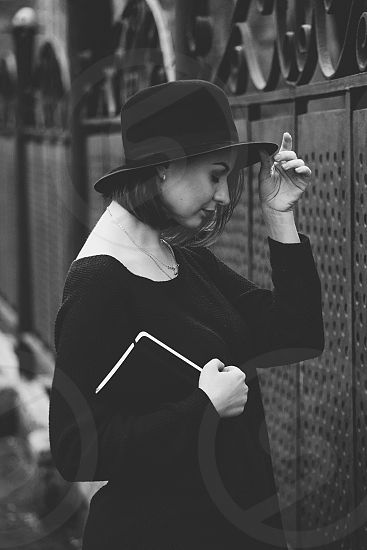 Women black white scene book  photo
