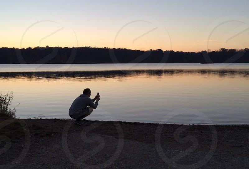 sunrise at eagle creek reservoir.  photo