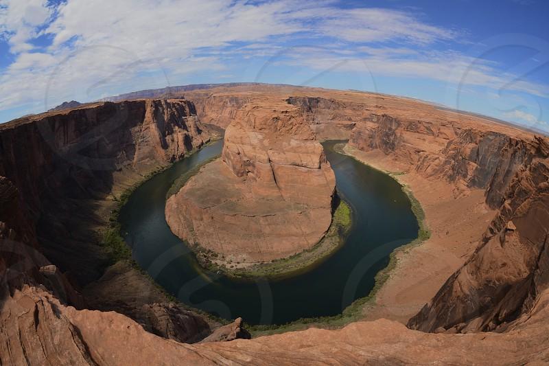Horseshoe Bend - Page AZ  Arizona; Horseshoe Bend; Northern Arizona; Desert; Hiking; Water; Colorado River; Sky; Clouds; Nature; Outdoors photo