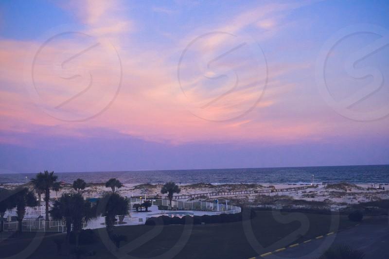 sunset gulf shores alabama fort morgan beach ocean beach sand photo