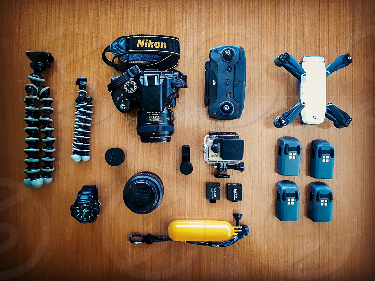 travel gadgets camera drone and tools photo