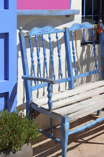 mediterranean blue bench deco detail Formentera Balearic islands photo