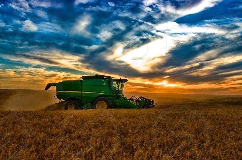 green and yellow heavy equipment photo