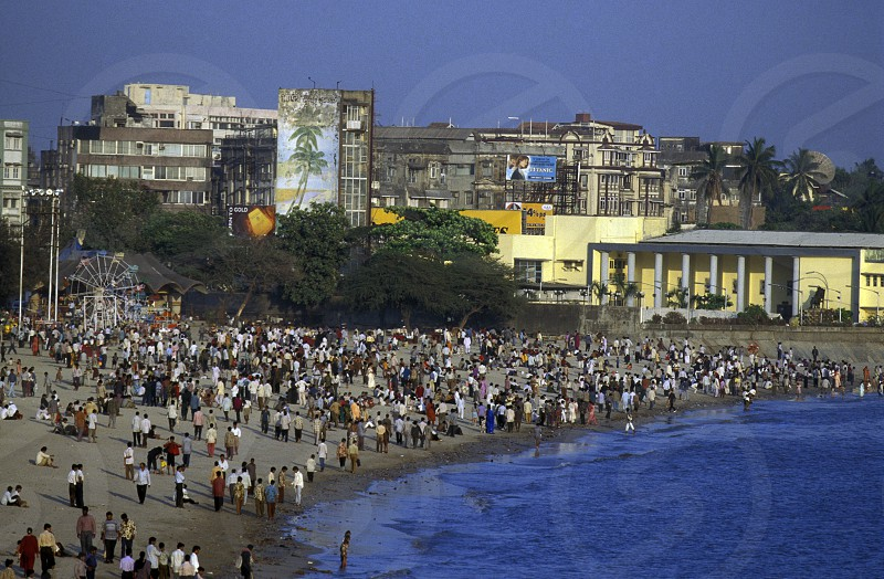 the Chowpatty Beach in the city of Mumbai in India. photo