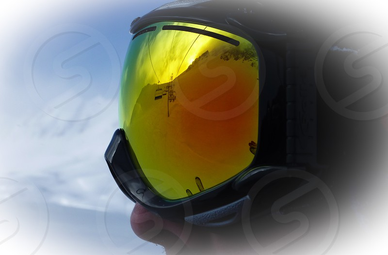 Chair Lift; France; Goggles; March; Mirrored; Orange; Reflection; Ski; Skiing; Snowboarding; Val D'Isere; Yellow photo
