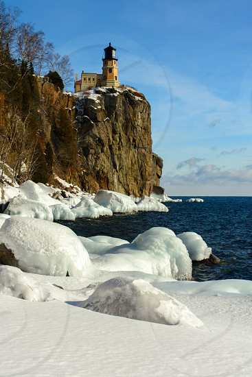 Split Rock lighthouse in winter photo