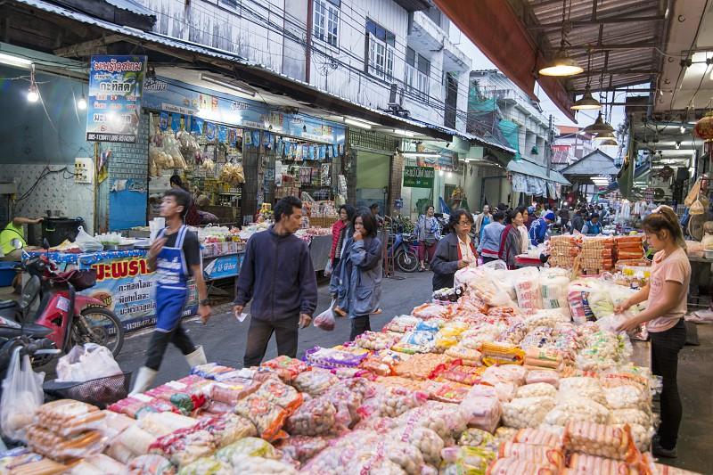the marketstreet at the food market in of the city Buri Ram in Isan in Northeast thailand.  Thailand Buriram November 2017 photo