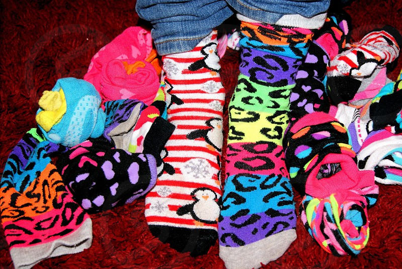 Colorful stylish silly socks photo