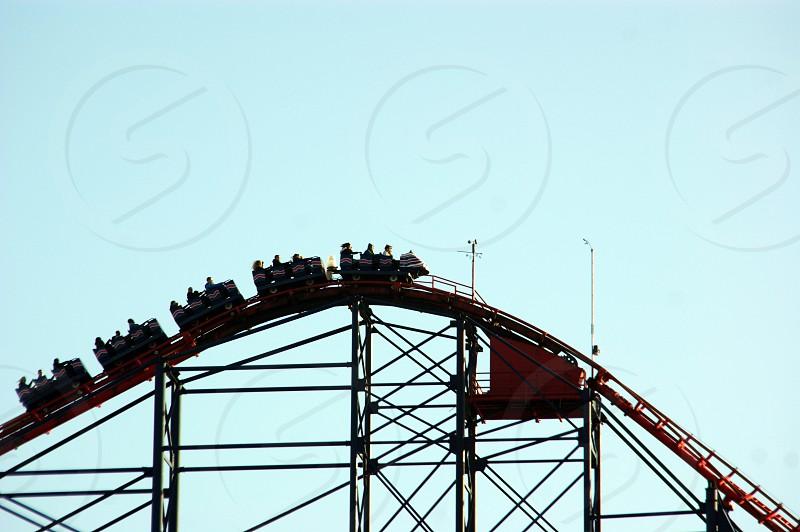 United Kingdom. England. Blackpool the Pleasure Beach the Pepsi Max Big Dipper in profile. photo
