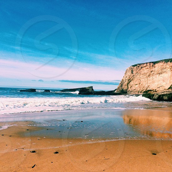 Landscape cliffs beach west coast Santa Cruz adventure California pacific coast highway highway 1 panther beach Davenport peaceful nature scenic photo