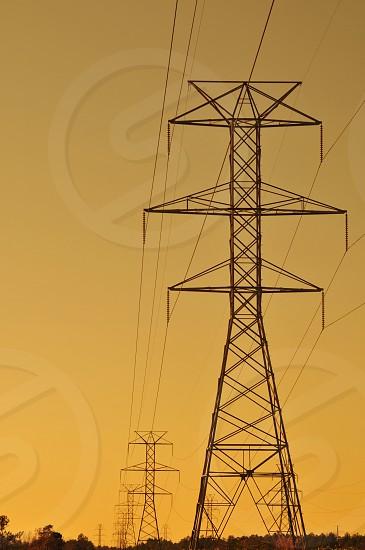 Pylons at sunset photo