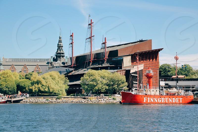 Ships boats marina maritime  water transport  water transportation  people coastal Wasa museum Stockholm  coastal photo