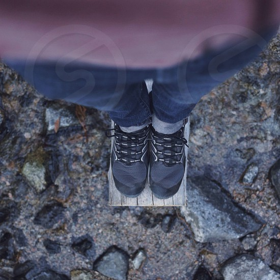 gray and black shoes photo