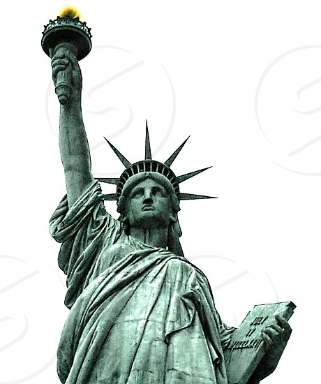 Statue of liberty- close up on white background photo