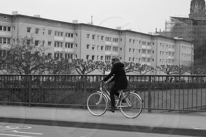 B&w black and white old bridge Frankfurt Germany  photo