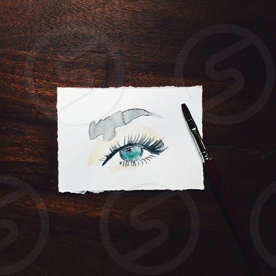 Watercolor artwork painting handmade wood art artist sketch art studio eyes eye blue eye pretty beauty photo