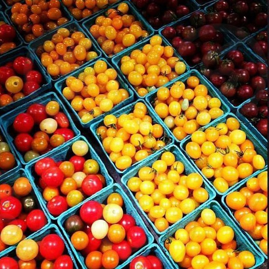 Farmers Market Heirloom Tomatoes In Pulp Containers photo