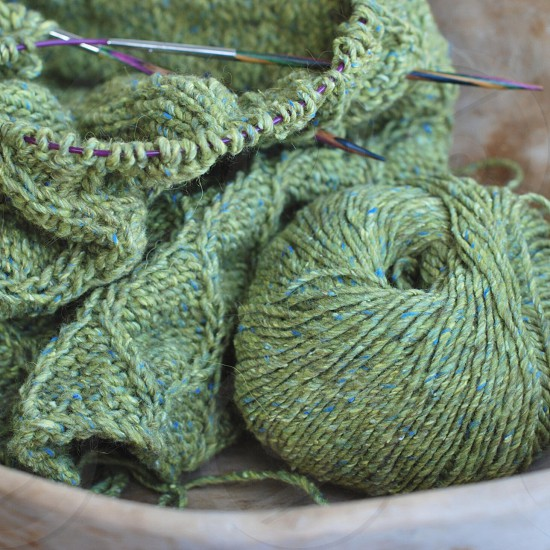 green and blue yarn photo