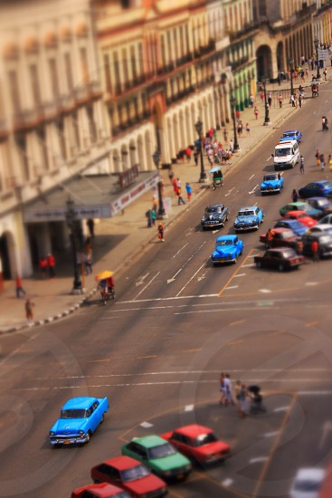 Looking down on the street in Havana Cuba photo