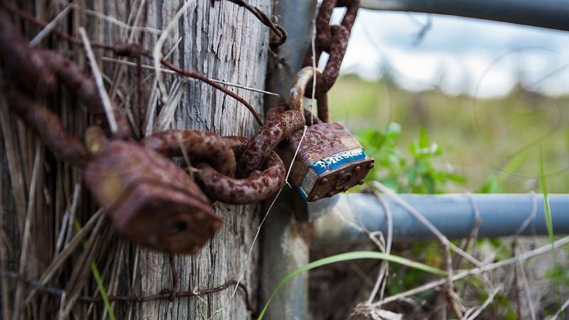 locked farm gate photo
