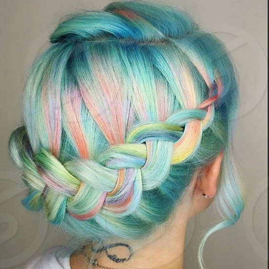 Hair unicorn cotton candy rainbow blues pastels braid head love fun summer photo