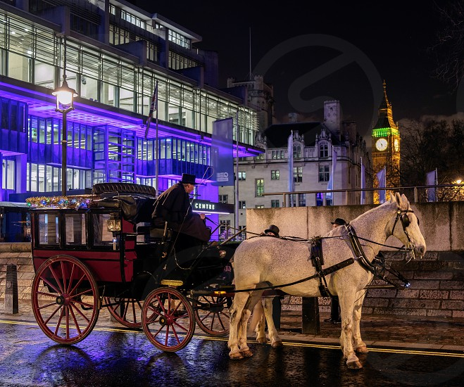 Horses and Carriage near Big Ben photo