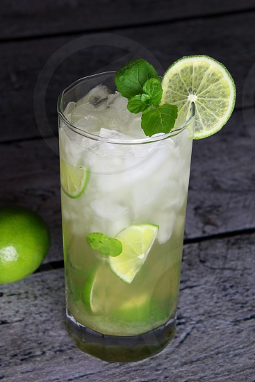 drink alcohol lime mint ice mojito cold fresh photo