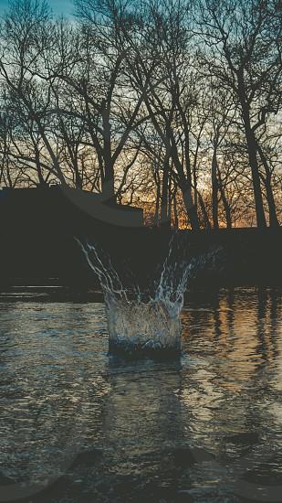 splash of water at lake photo