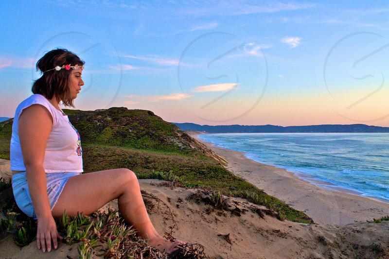 Beach flower girl California sunset sand cliffs vacation inspire flower crown nature beach ocean photo