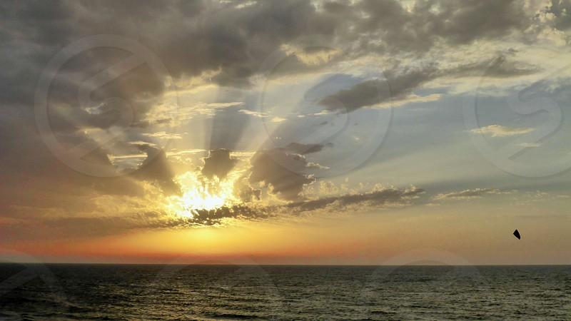 Beautiful sea view at sunset in Tel Aviv. photo