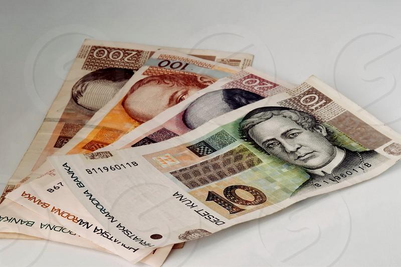 Croatian flag and money photo